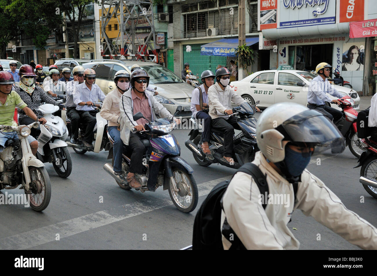 Motorcycles, mopeds in traffic chaos, traffic in Ho Chi Minh City, Saigon, Vietnam, Southeast Asia - Stock Image