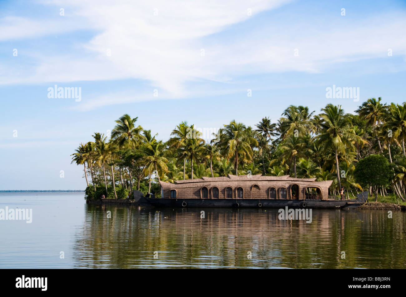 House boat parked in shore of Backwater alleppey kerala, India - Stock Image