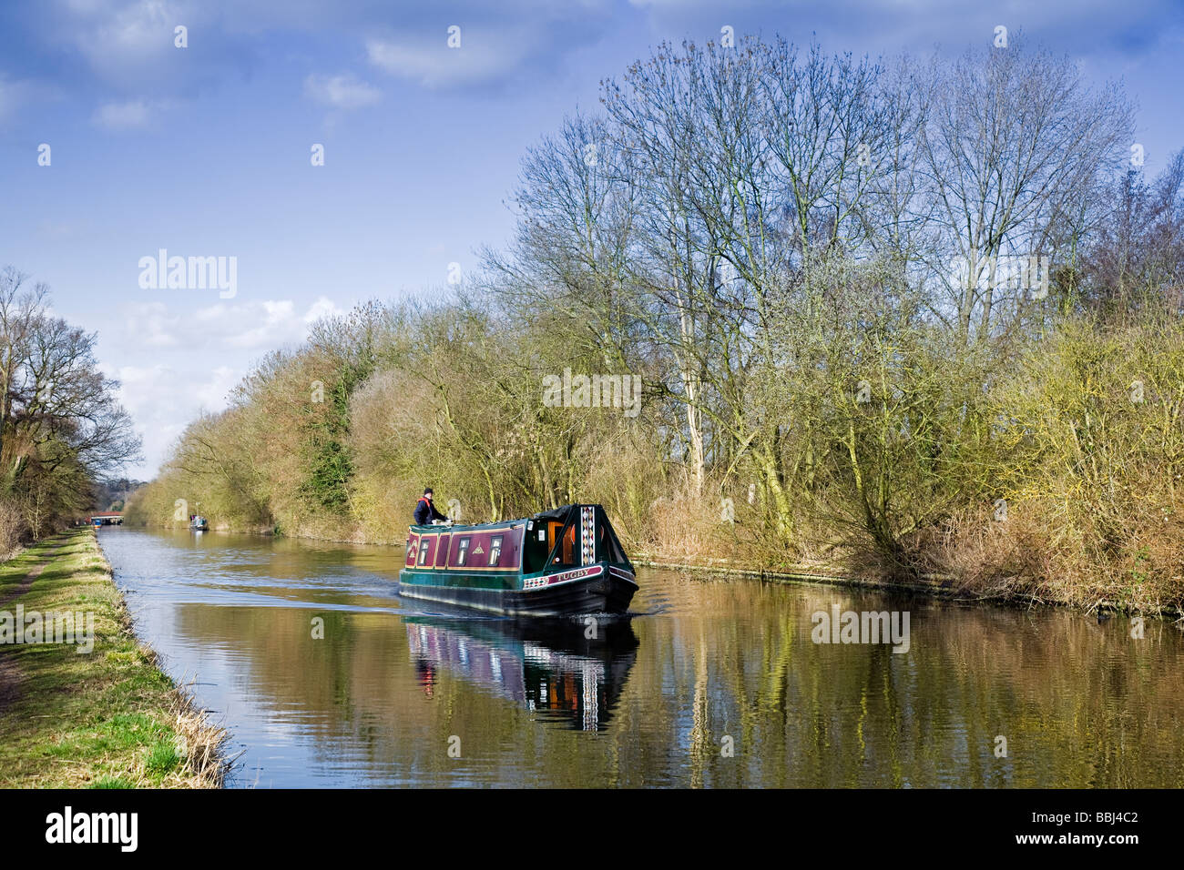 Grand Union Canal and Narrowboat 'Tugby', near Denham Green, Buckinghamshire, England - Stock Image