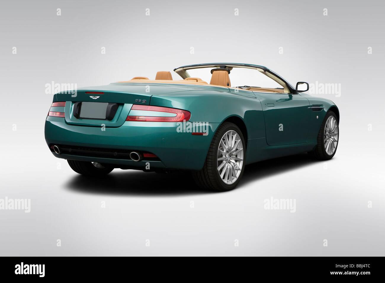 2009 Aston Martin Db9 Volante In Green Rear Angle View Stock Photo Alamy
