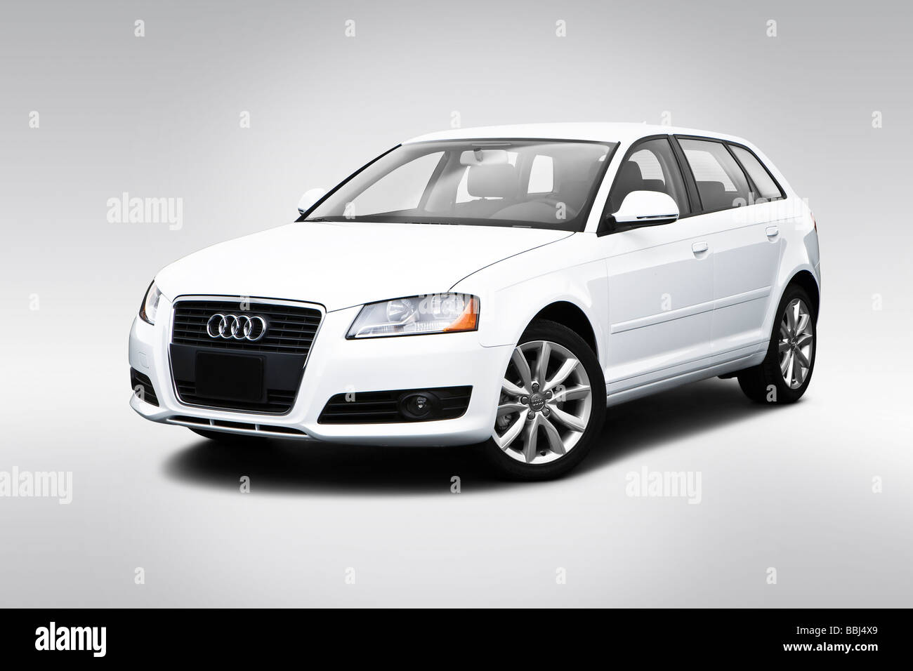 2009 Audi A3 2.0T in White - Front angle view - Stock Image