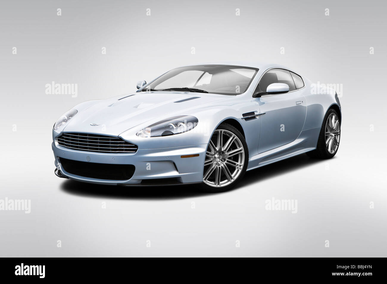 2009 Aston Martin DBS in Silver - Front angle view - Stock Image