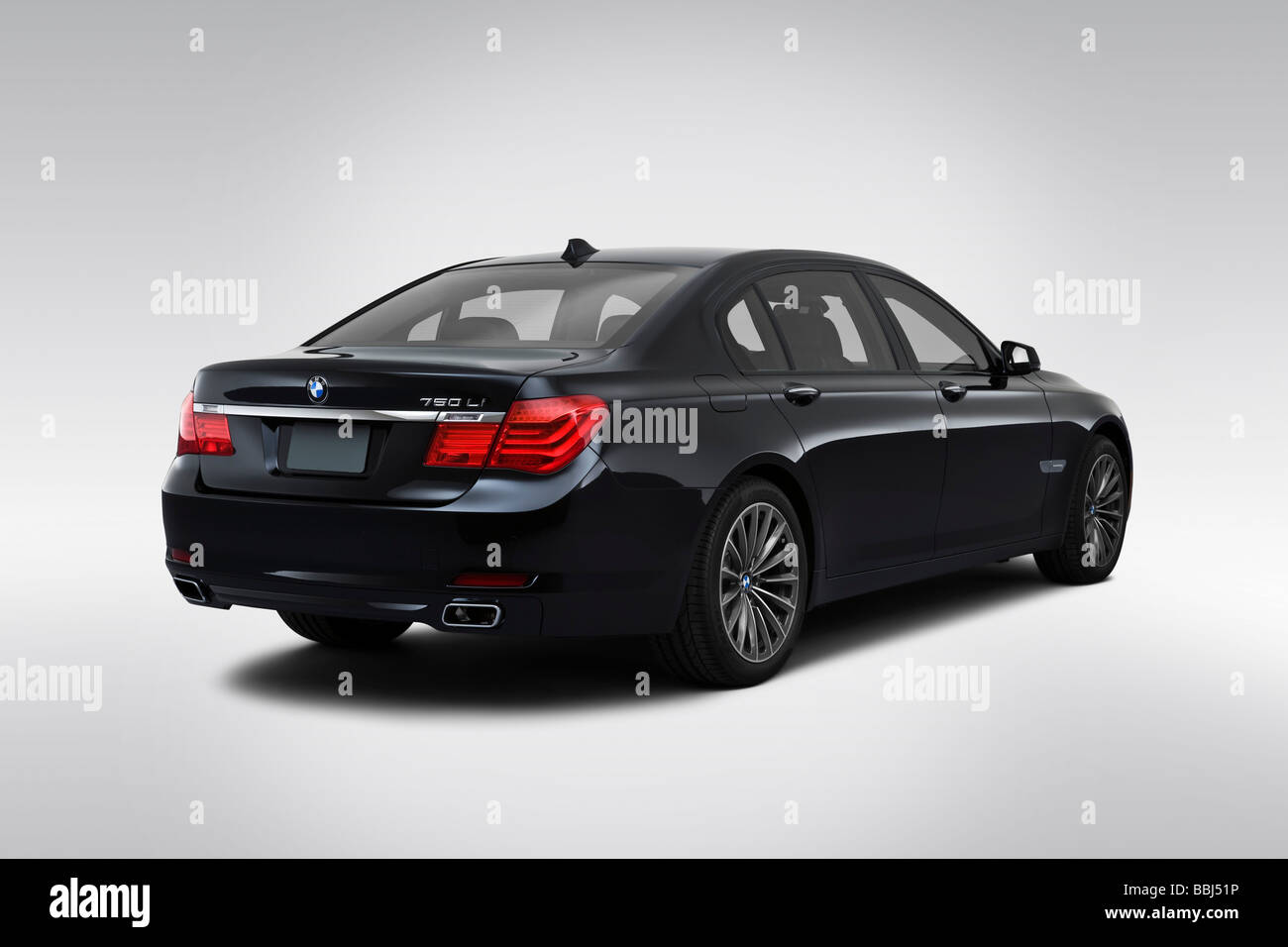 Bmw 7 Series Black Stock Photos Images White 2006 750li 2009 In Rear Angle View Image