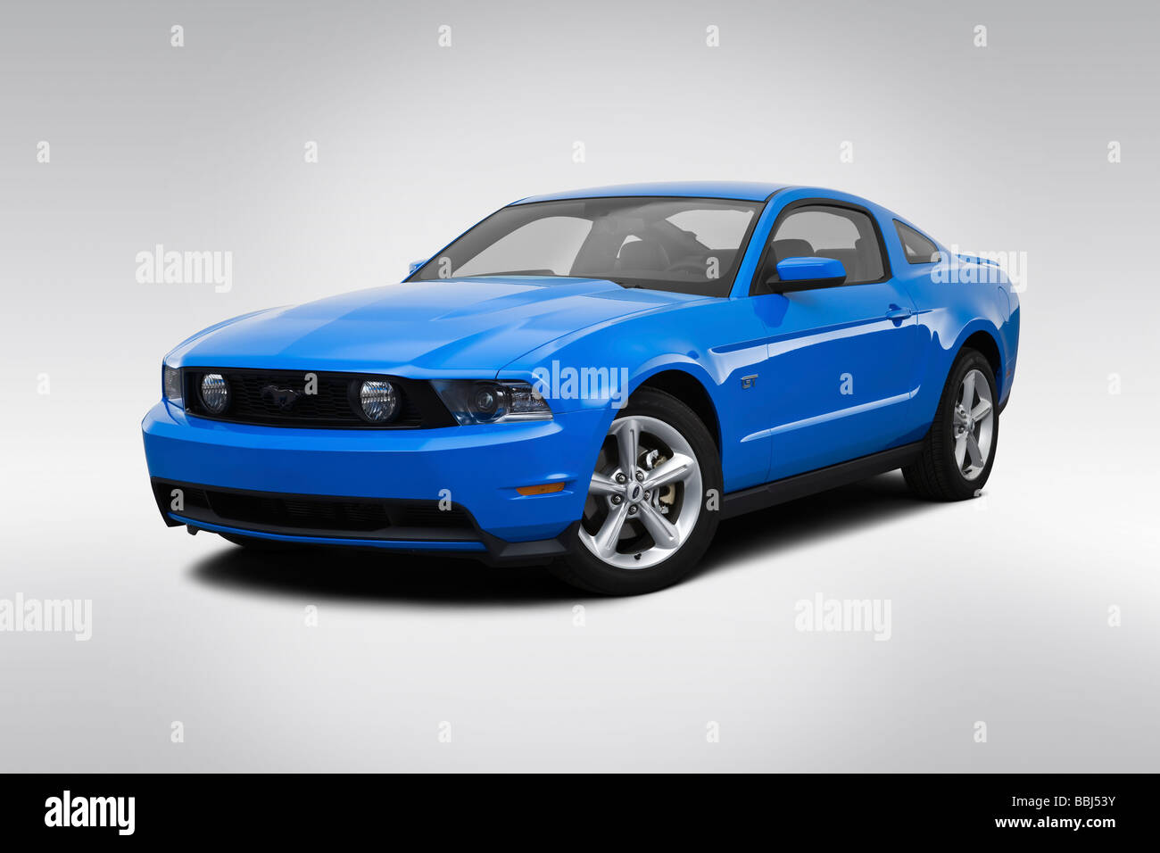 Ford Mustang Gt Premium In Blue Front Angle View Stock Image