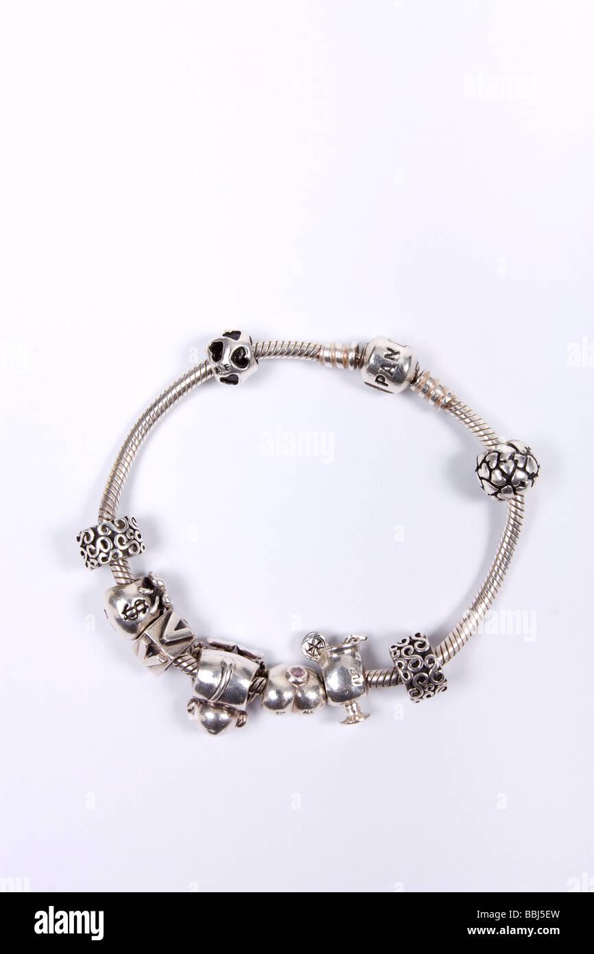Sterling Silver Pandora Charm Bracelet With Charms Stock Photo Alamy