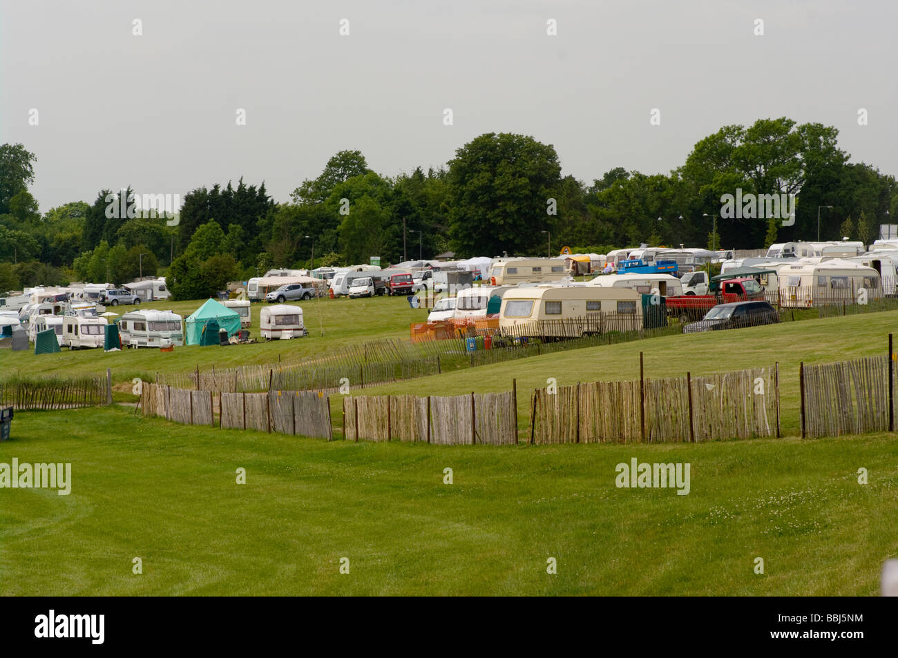 Caravan Park at Epsom Downs Racecourse - Stock Image