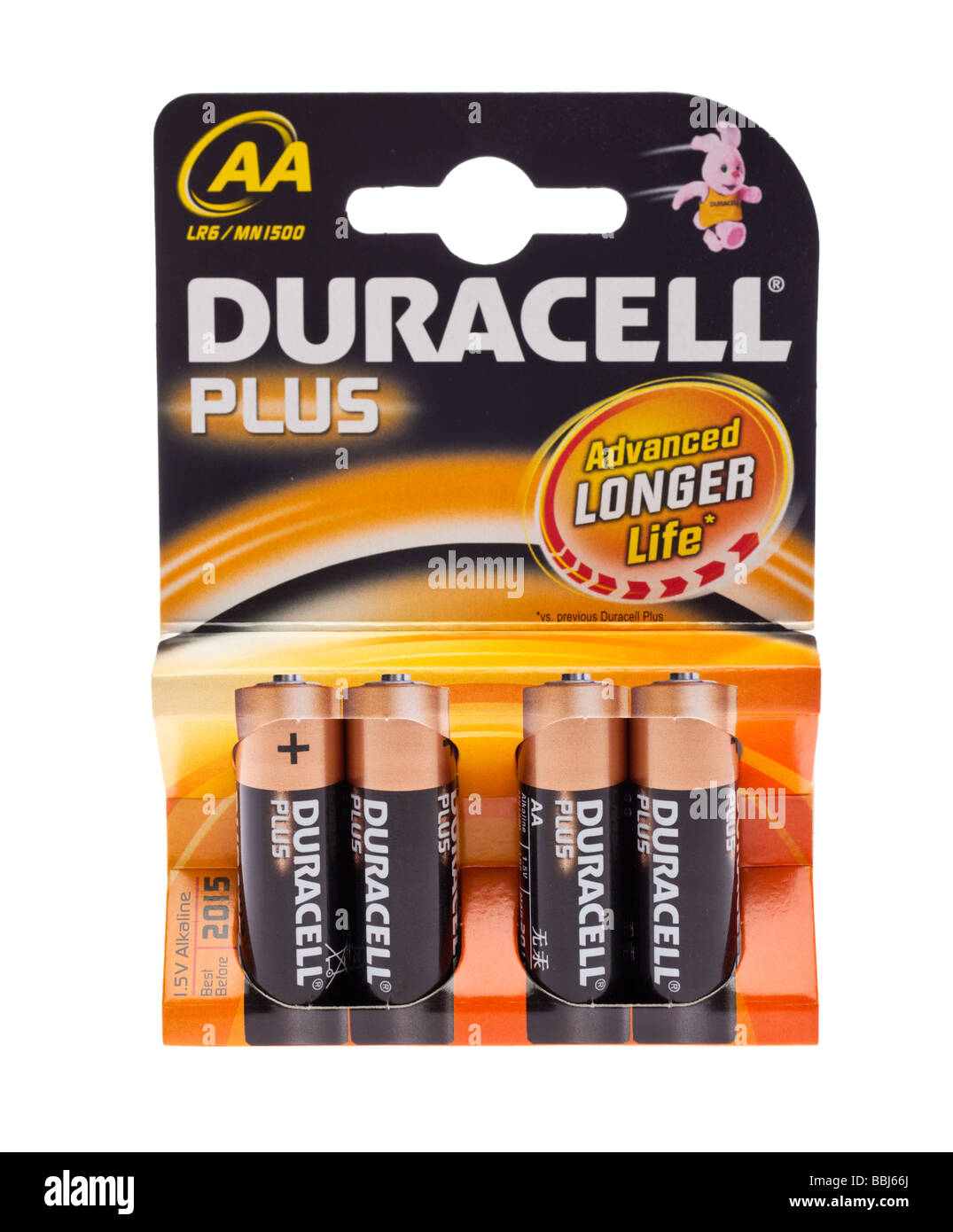 Packet of four Duracell AA batteries - Stock Image