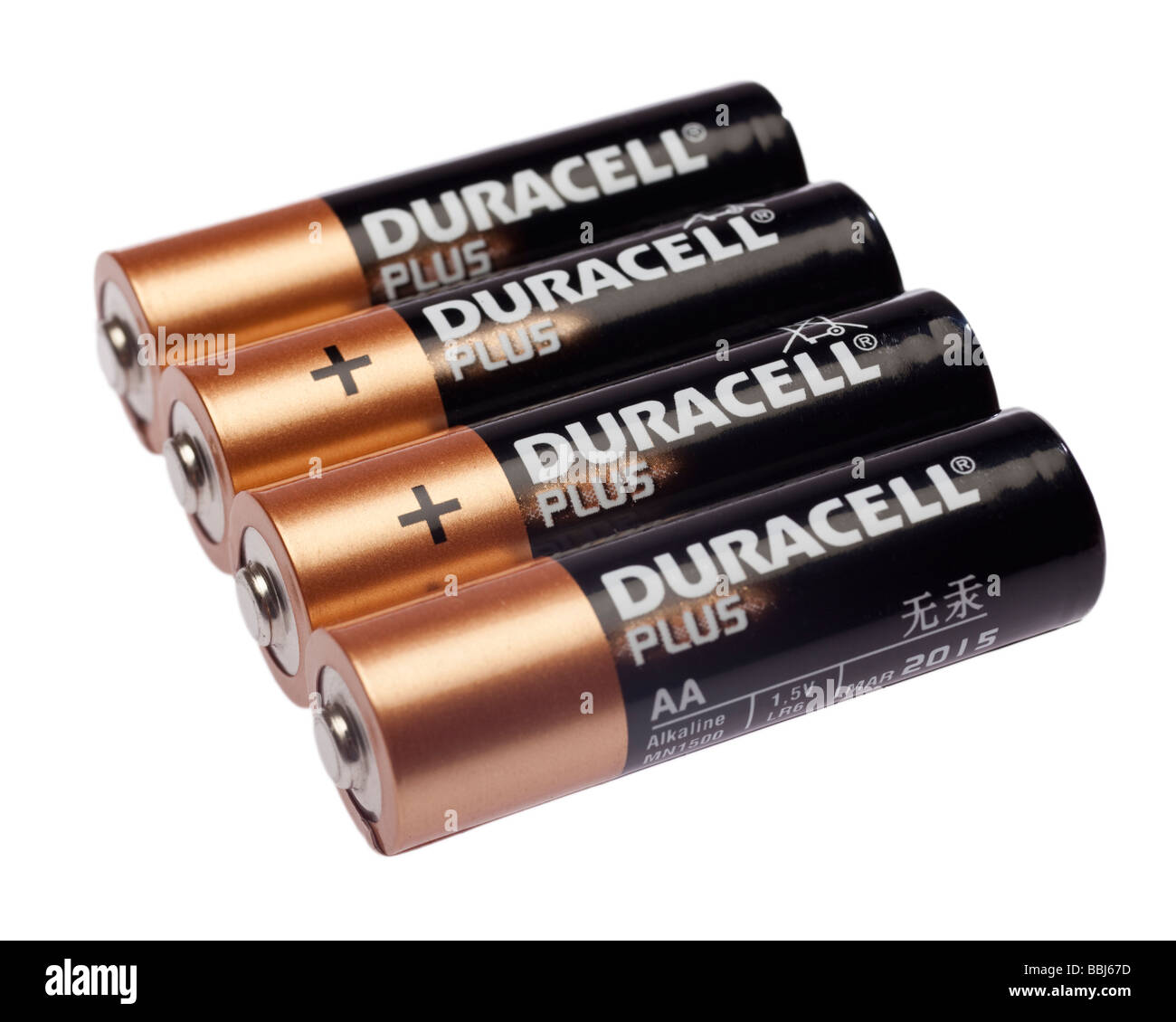 Row of four Duracell AA batteries close up - Stock Image