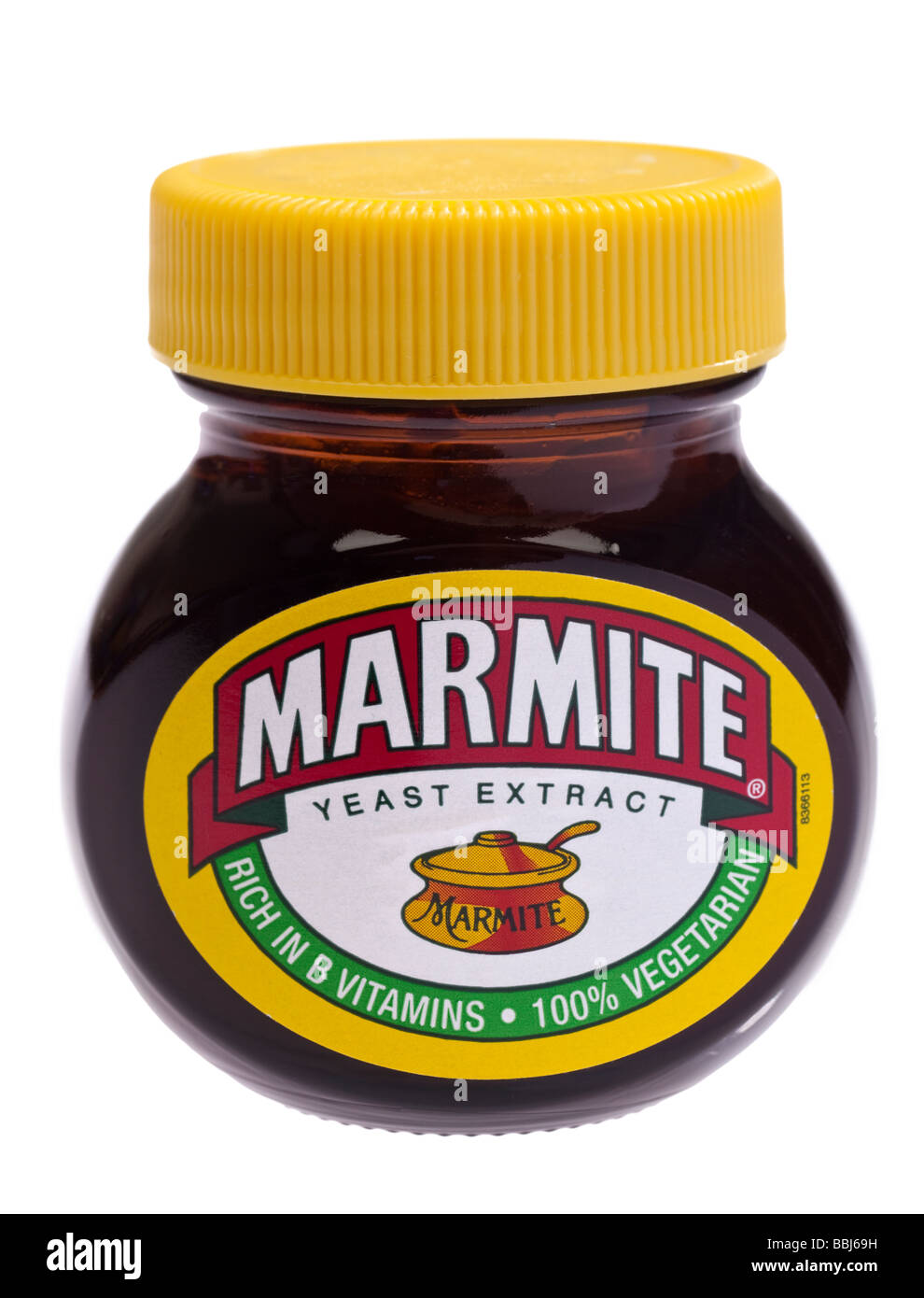 Marmite jar on white background cut out - Stock Image