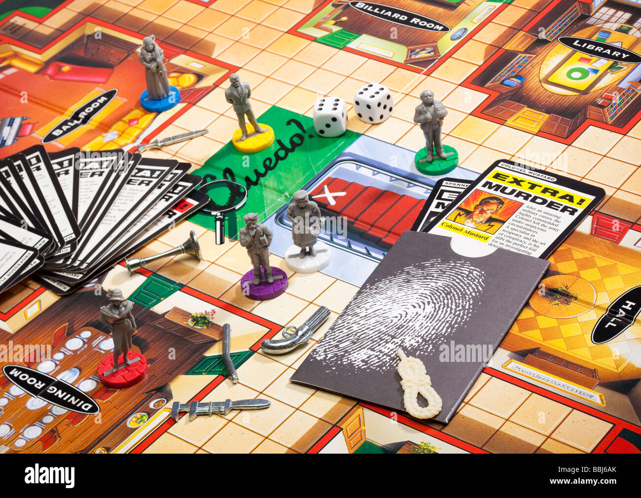 Board games - Cluedo board game with pieces - Stock Image
