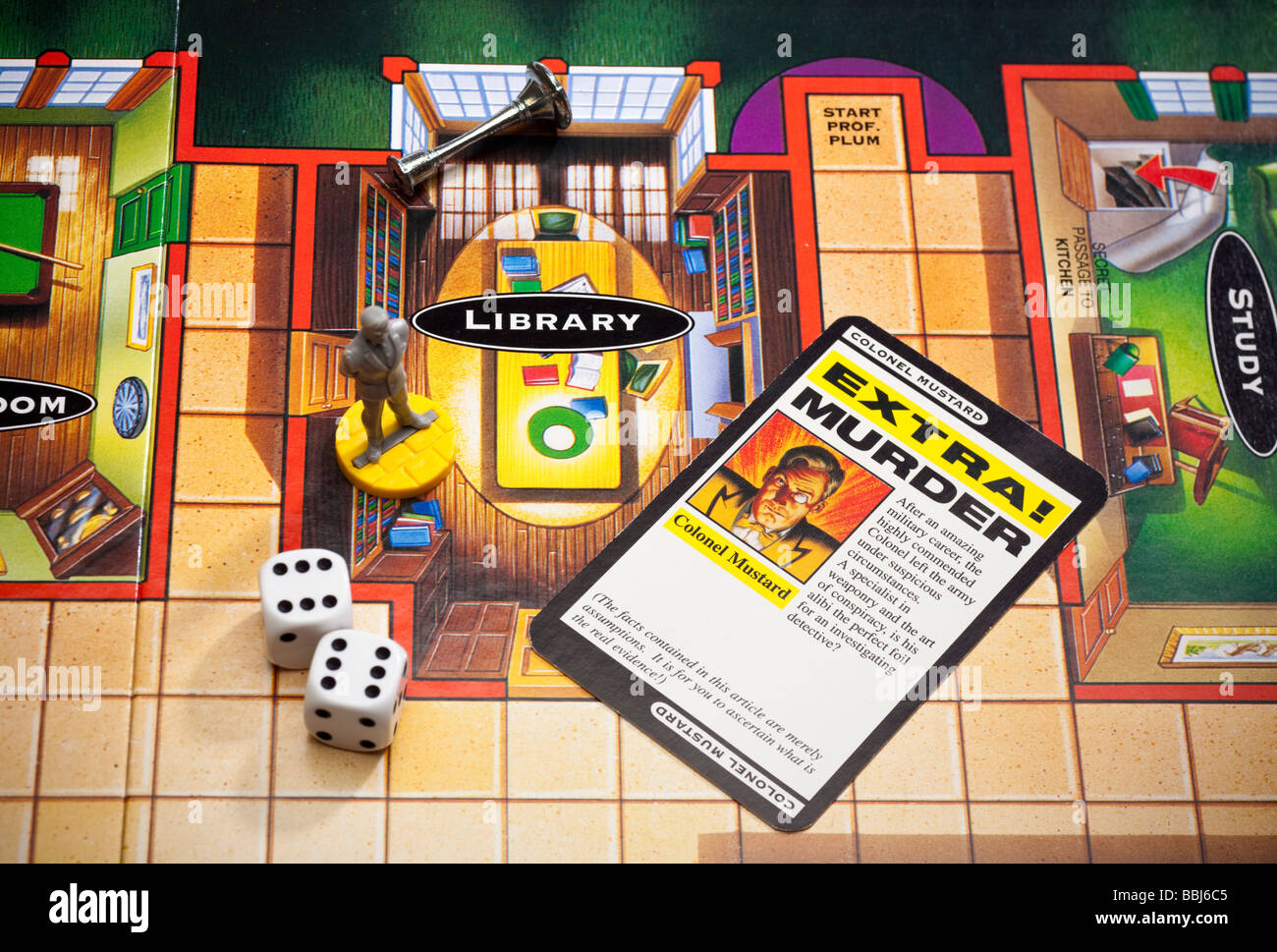 Cluedo board game with pieces - Stock Image