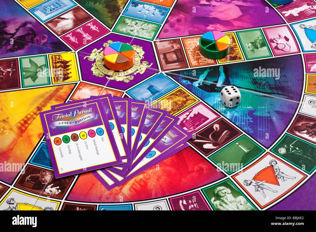 Board game Trivial Pursuit with pieces - Stock Image