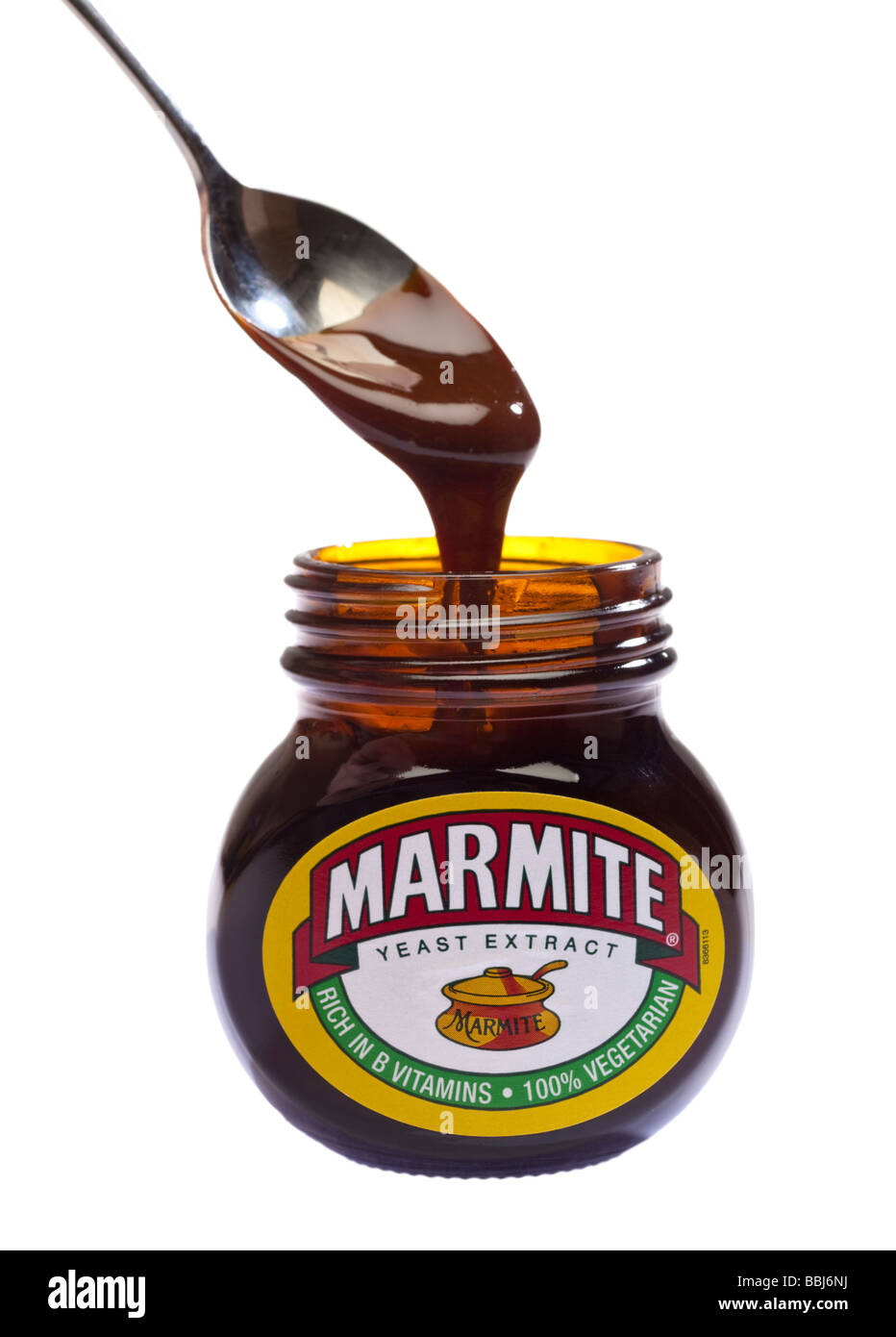 Marmite jar with spoon - Stock Image
