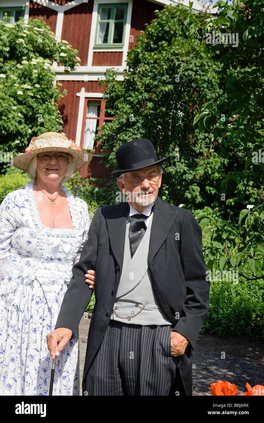 Dressed up at Midsummer (Skansen) - Stock Image