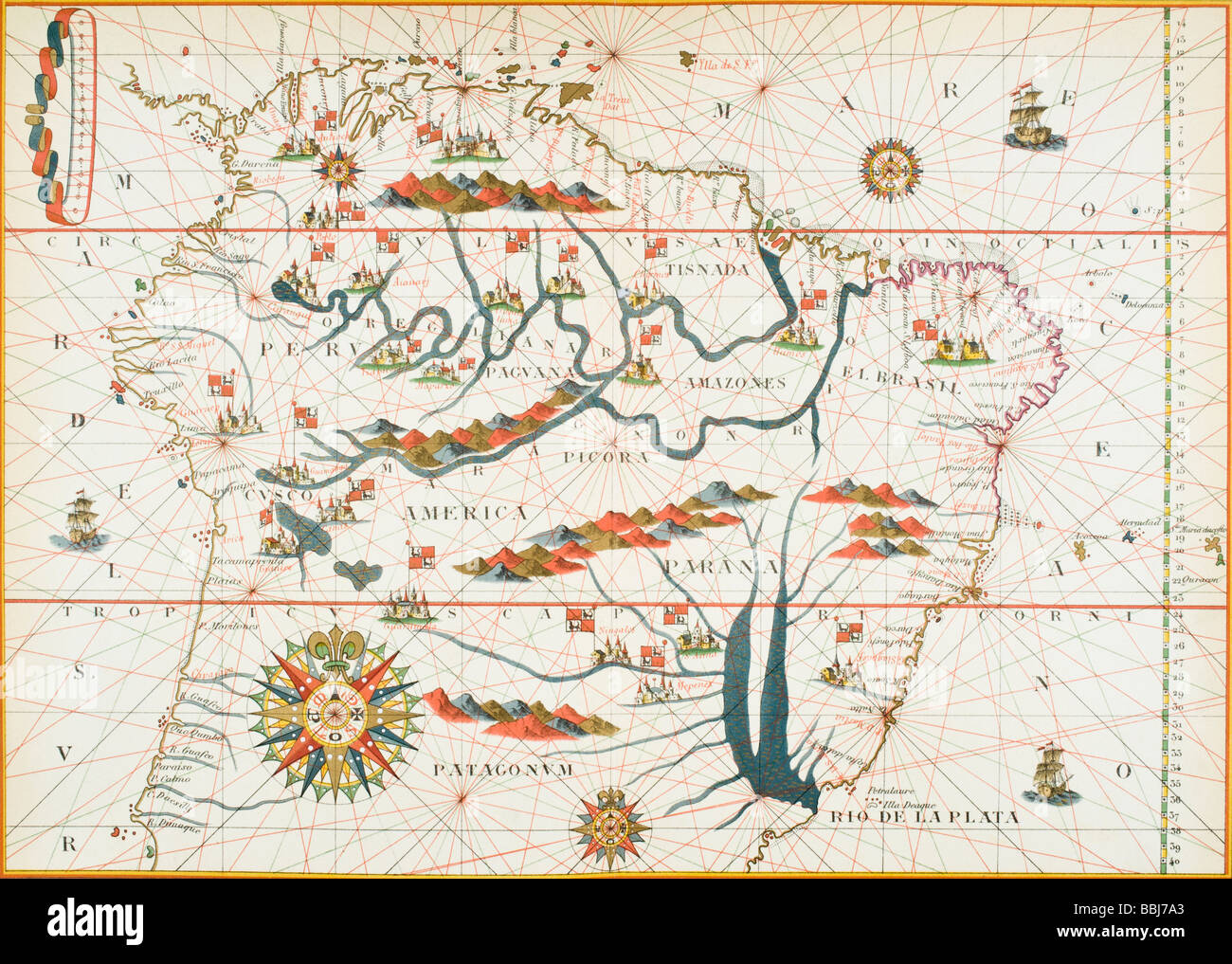 Map of South America. Reduced facsimile of a map from the ...