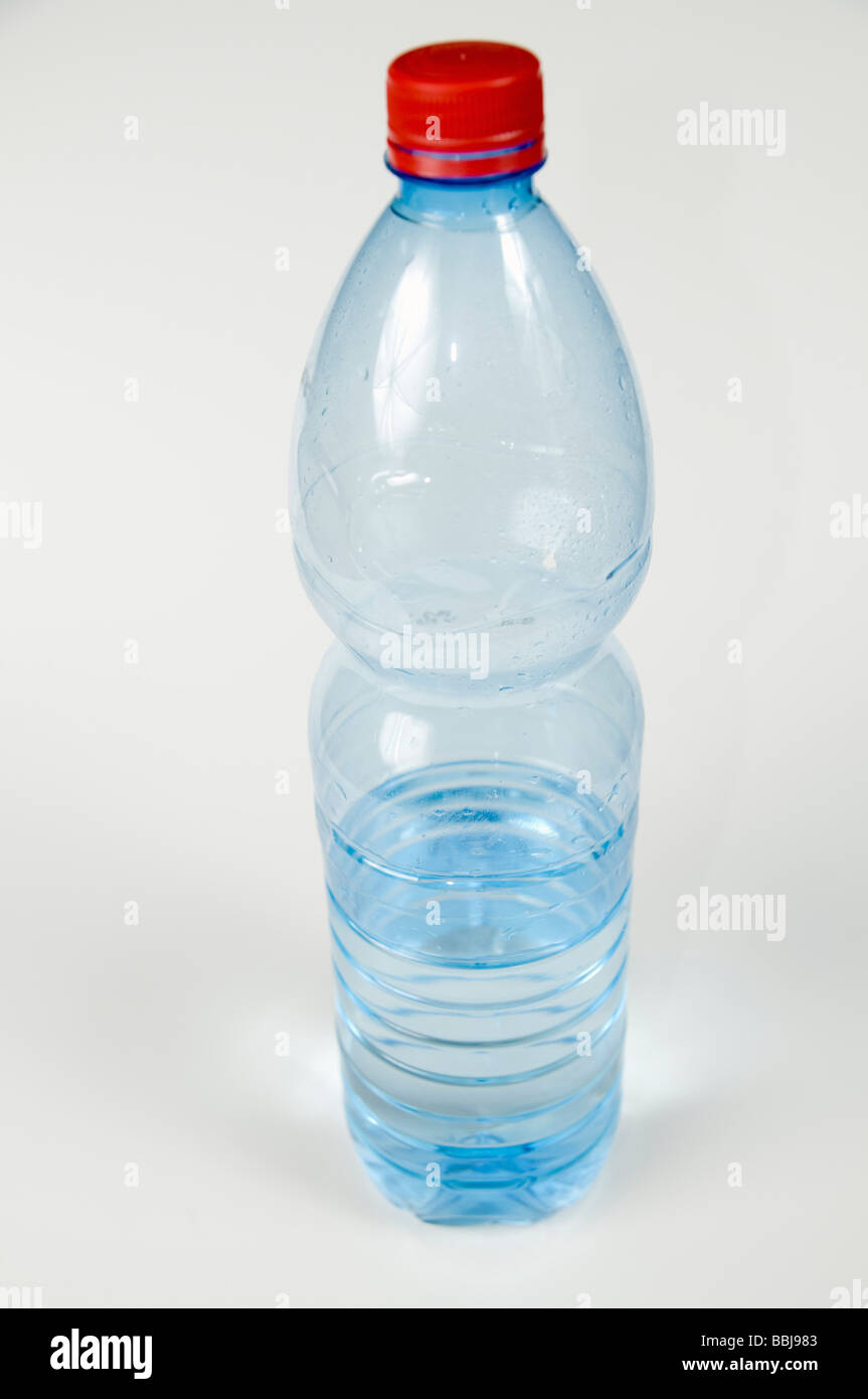Cutout of a Plastic Bottle of Mineral Water on white background Stock Photo