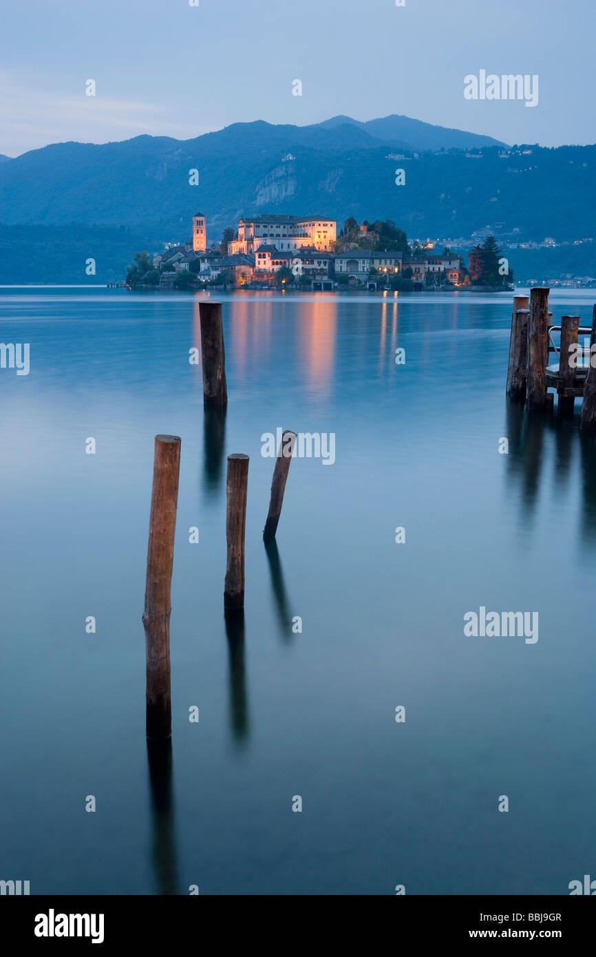 Isola di San Giulio, Lake Orta, Italian Lakes, Piemont, Italy - Stock Image