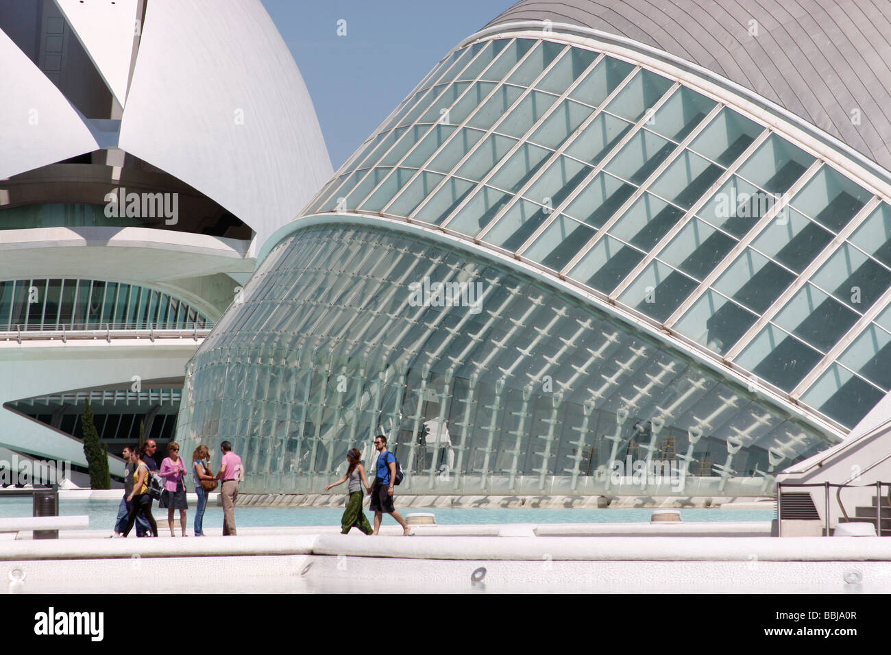 Designed by Santiago Calatrava Valencia's City of Arts and Sciences is a stunning collection of modern architecture - Stock Image