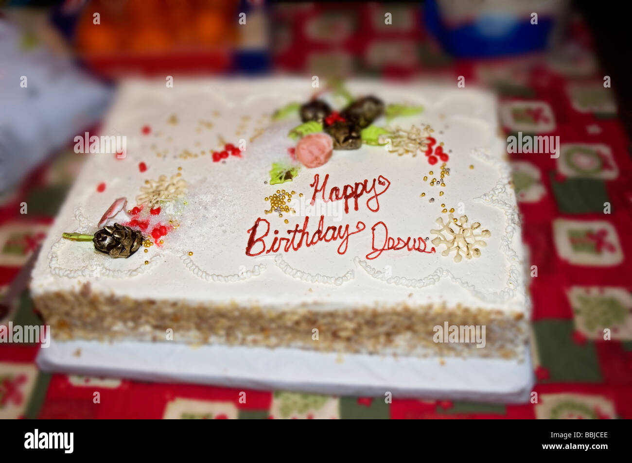 Enjoyable Happy Birthday Jesus Christmas Birthday Cake At Local Church Stock Funny Birthday Cards Online Alyptdamsfinfo