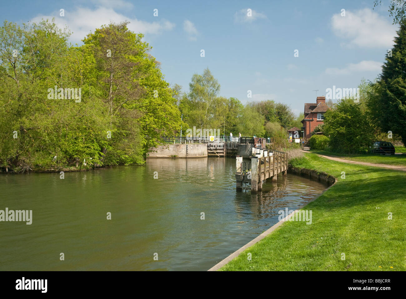 Lock and Lock Keeper s cottage on the River Thames at Abingdon Oxfordshire Uk Stock Photo