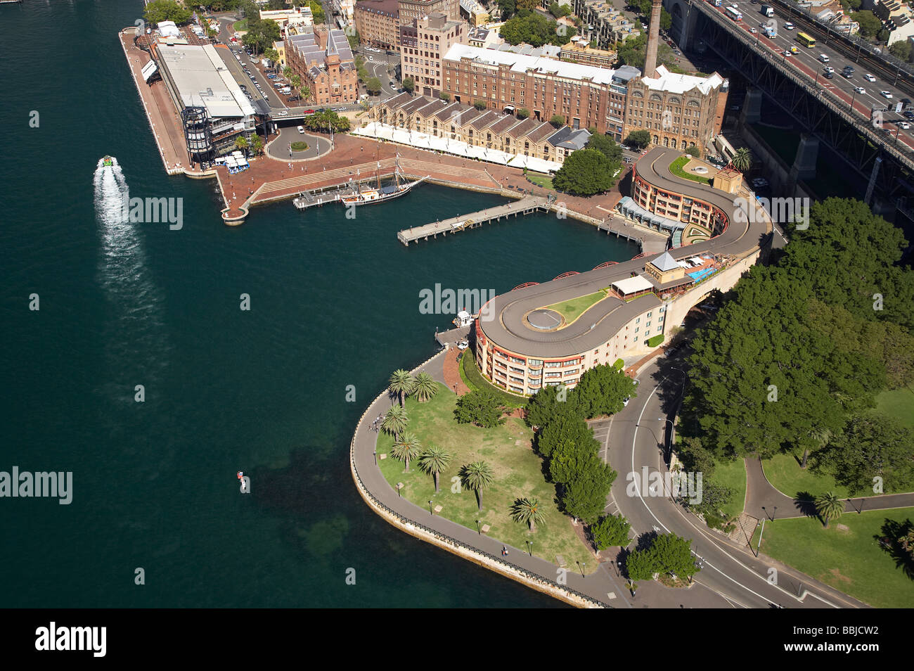 Overseas Passenger Terminal and Park Hyatt Hotel Campbells Cove The Rocks Sydney New South Wales Australia aerial - Stock Image