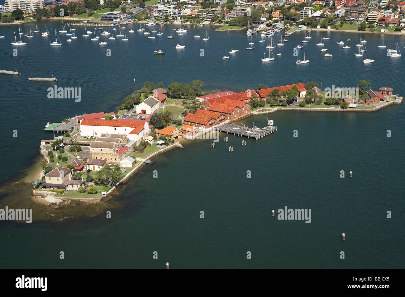 Historical Spectacle Island Parramatta River Sydney New South Wales Australia aerial - Stock Image