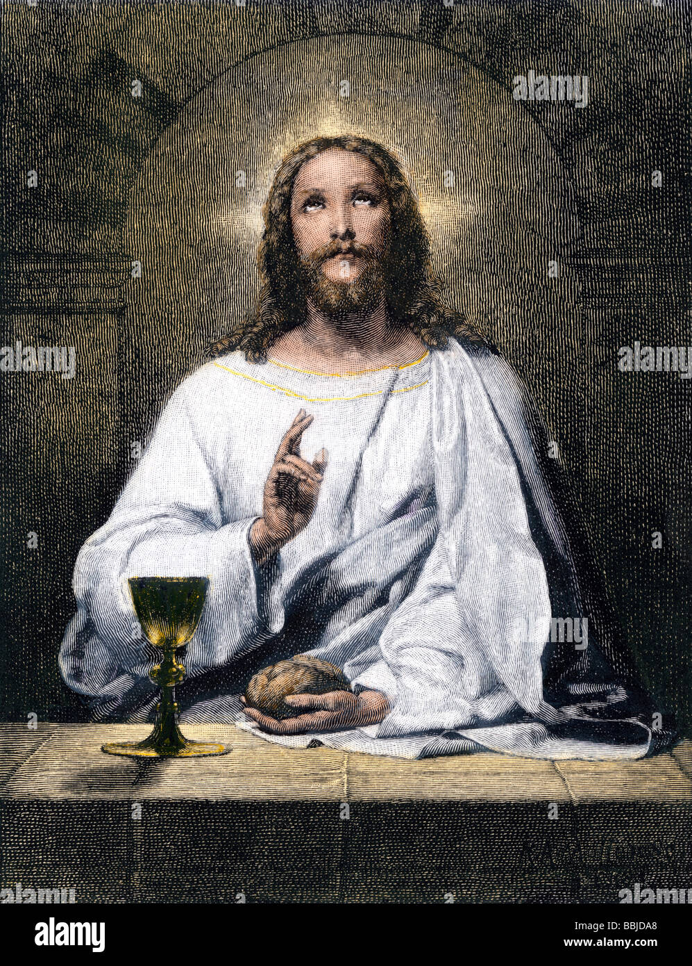 Jesus blessing bread and wine at Emmaus. Hand-colored woodcut - Stock Image