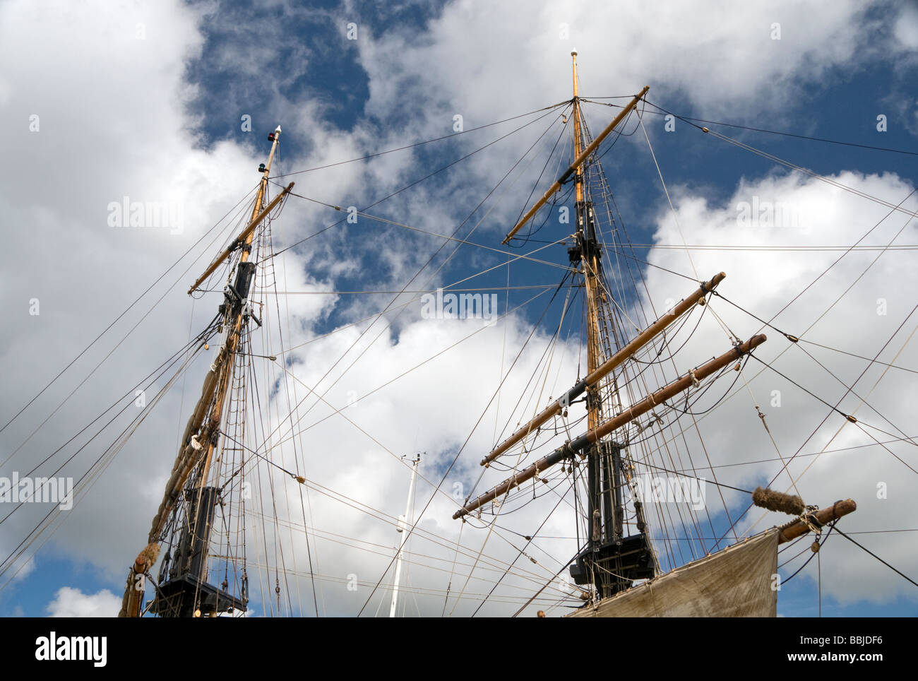 One of the tall ships anchored at Charlestown in Cornwall, England, UK Stock Photo