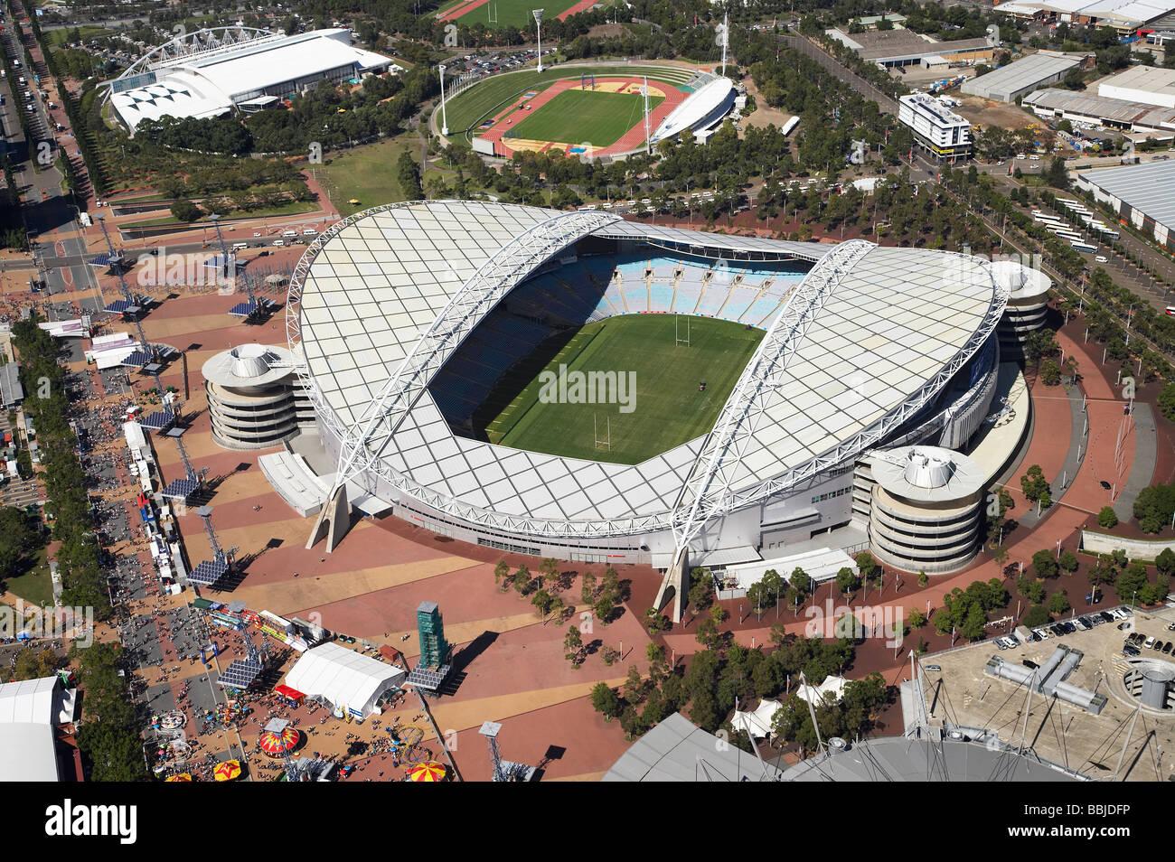 ANZ Stadium previously Stadium Australia Homebush Bay Olympic Park Sydney New South Wales Australia aerial - Stock Image