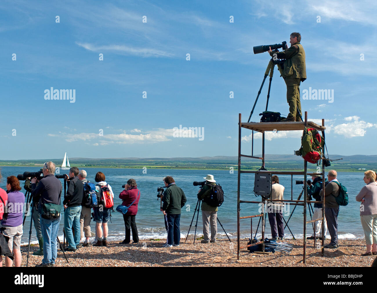 Dolphin watchers at Channory Point on the Black Isle, Ross and Cromarty, Scotland Stock Photo