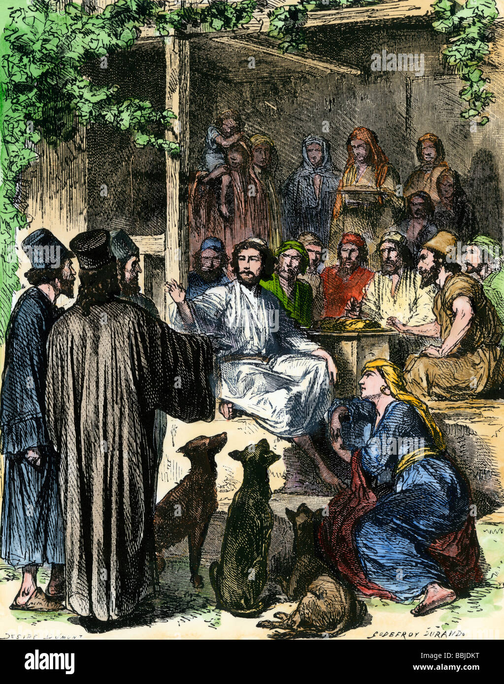 Jesus eating with sinners and tax collectors in Jerusalem. Hand-colored woodcut - Stock Image