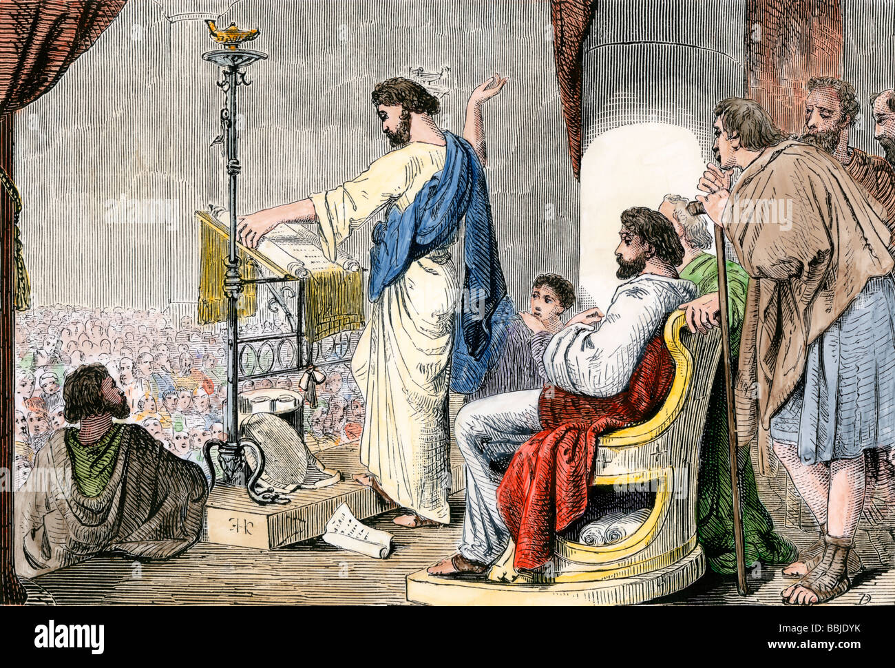 Apostles Paul and Barnabas preaching Christianity at Antioch. Hand-colored woodcut - Stock Image