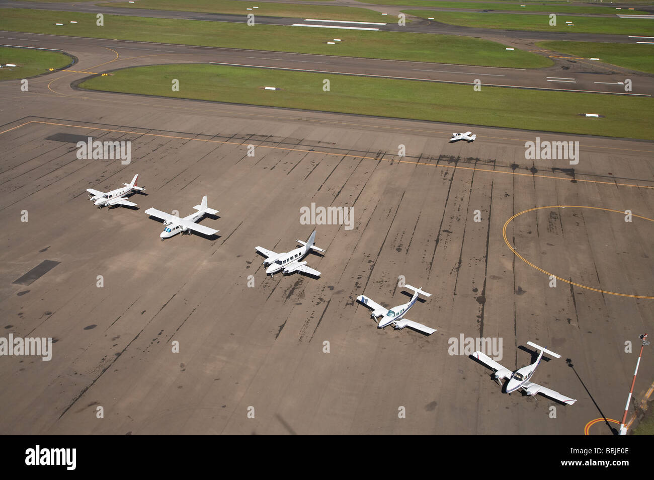 Row of Planes Bankstown Airport Sydney New South Wales Australia aerial - Stock Image