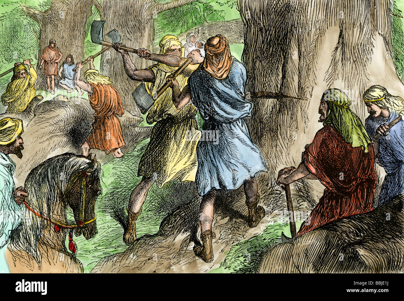 Solomon's servants hewing the cedars of Lebanon to build the Hebrew temple in Jerusalem. Hand-colored woodcut - Stock Image