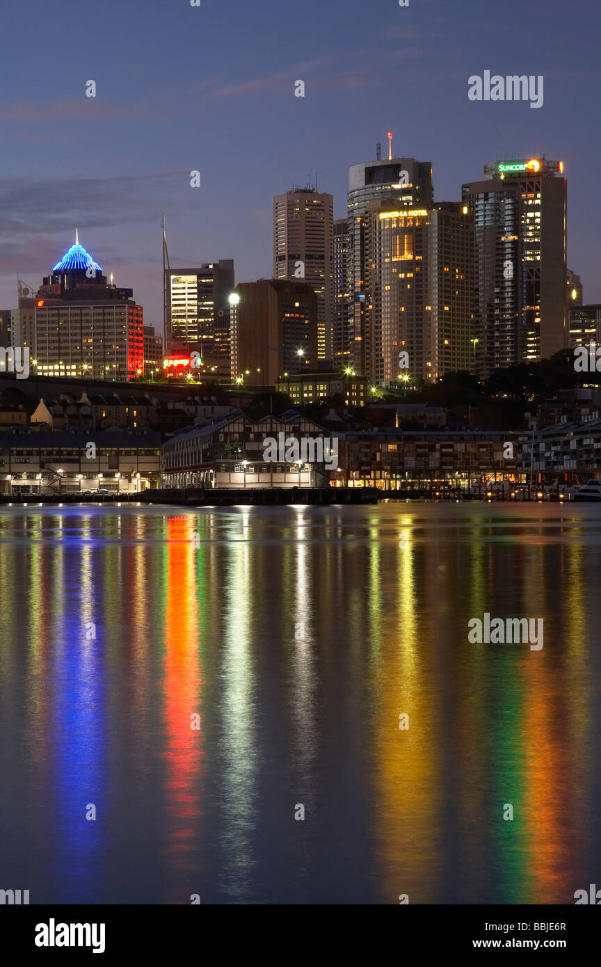 Sydney CBD Reflected in Sydney Harbour Sydney New South Wales Australia - Stock Image