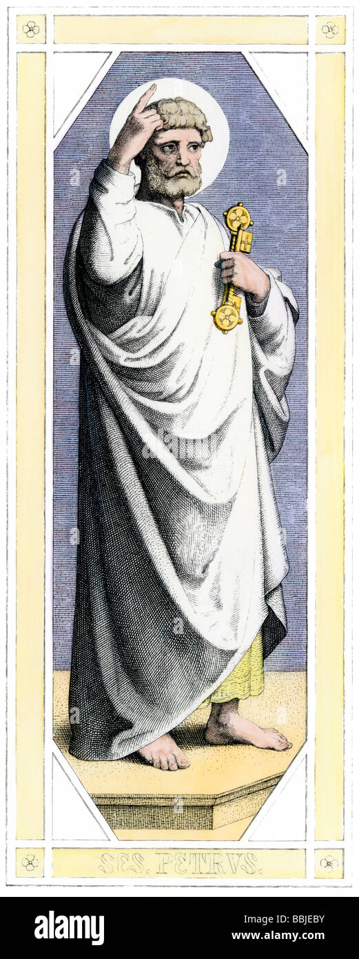 Saint Peter holding the keys to Heaven. Hand-colored engraving - Stock Image