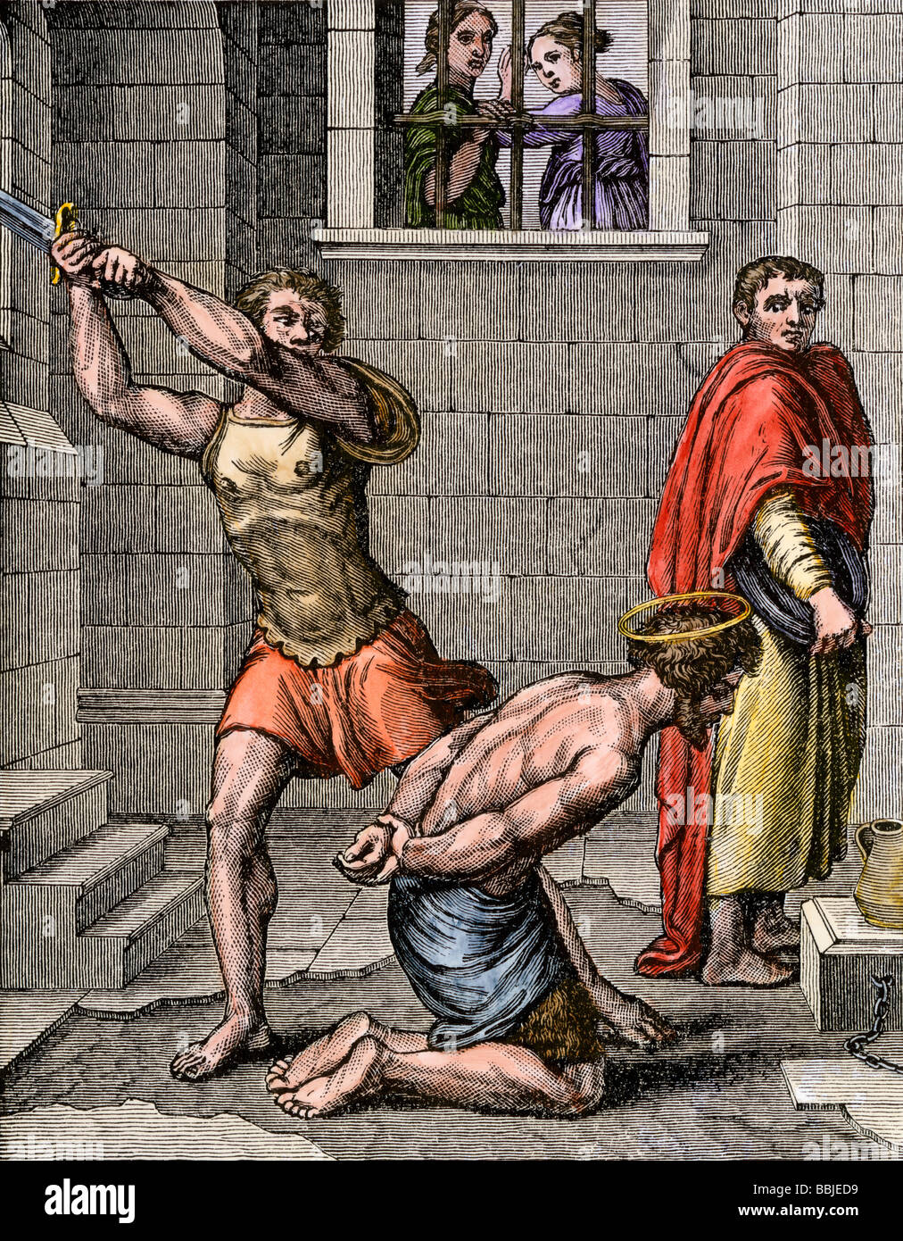 Beheading of John the Baptist by order of King Herod. Hand-colored woodcut - Stock Image