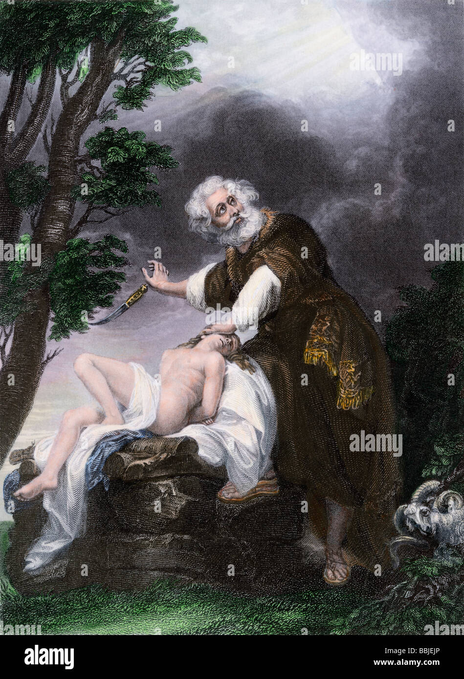 Abraham commanded not to sacrifice his son Isaac after all. Hand-colored steel engraving - Stock Image