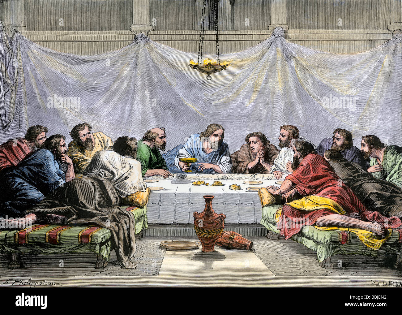 jesus offering the disciples wine at the last supper stock photo