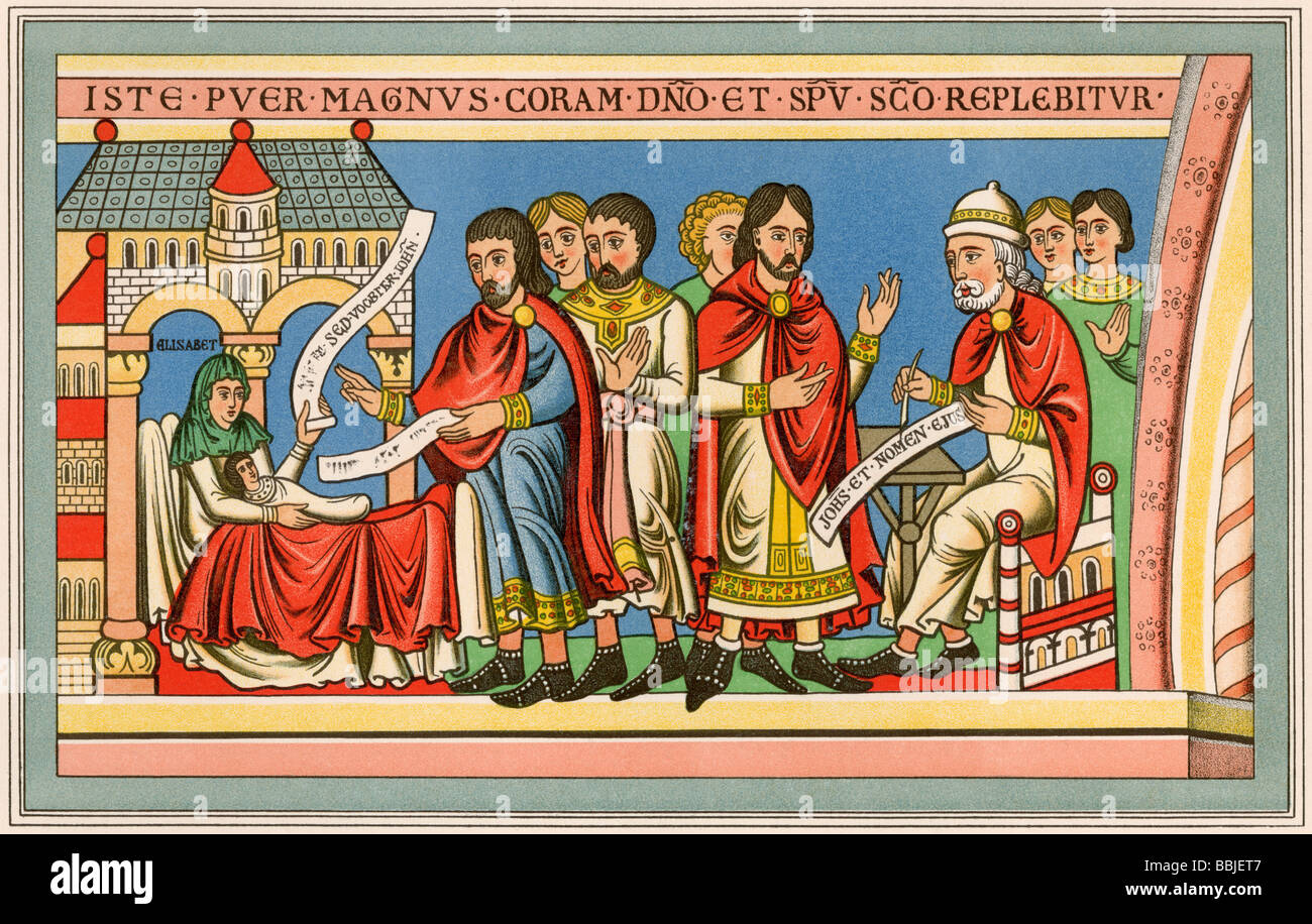 Birth of John the Baptist. Color lithograph - Stock Image