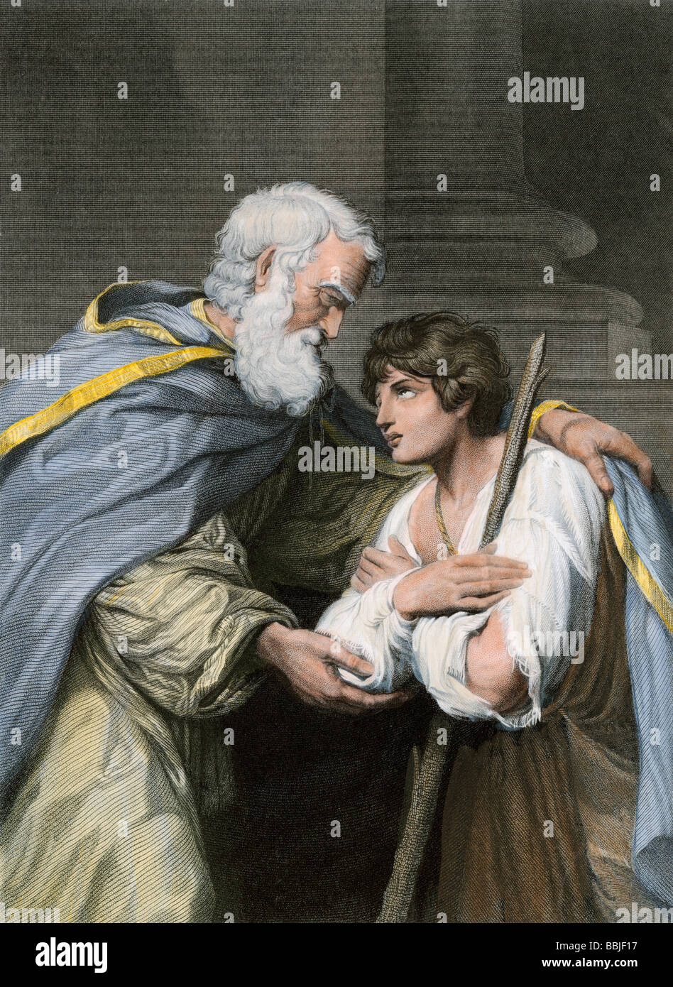 Prodigal son returns home and asks his father's forgiveness, a parable in the biblical Book of Luke. Hand-colored - Stock Image
