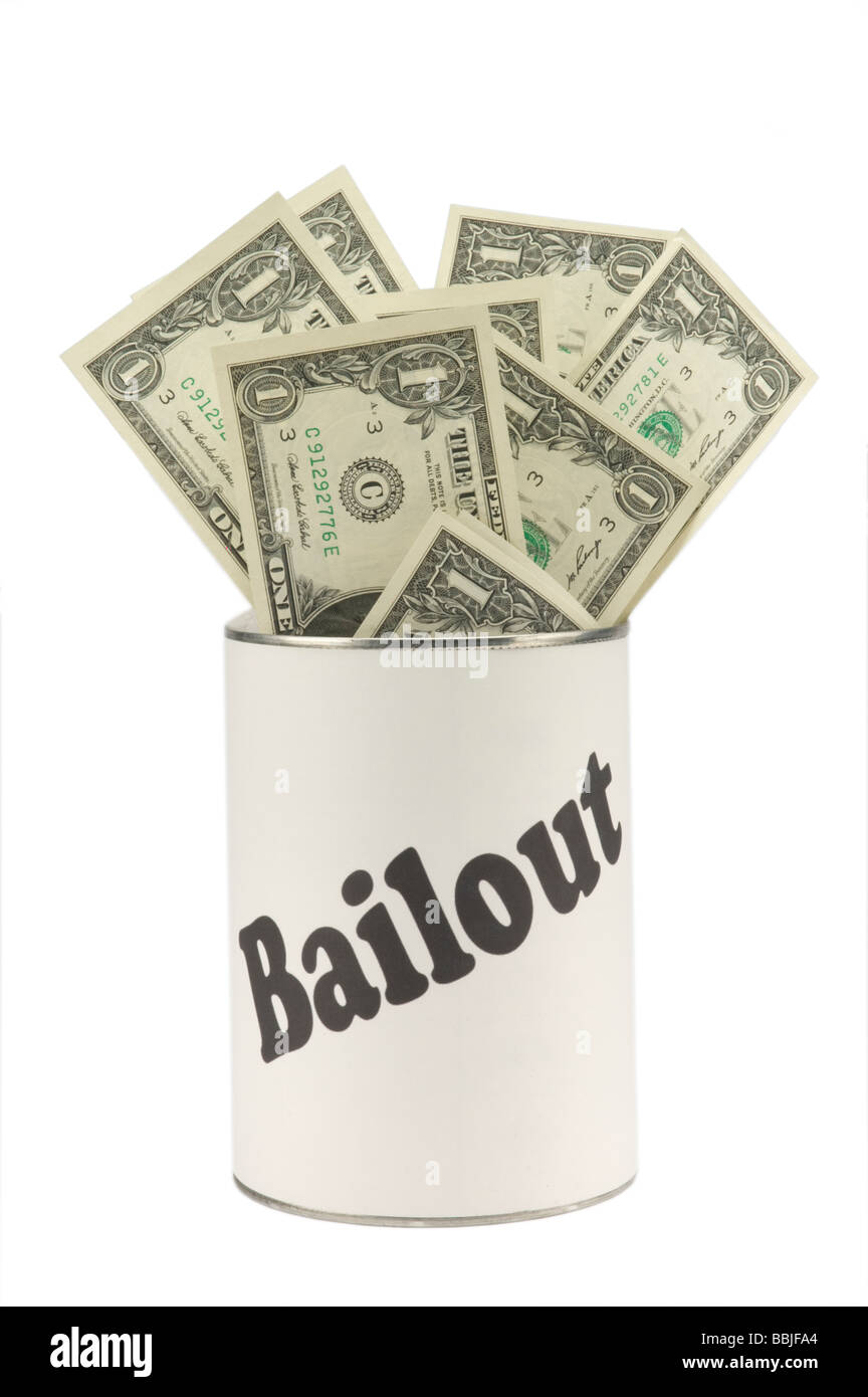 American one dollar bills in a can labeled bailout - Stock Image