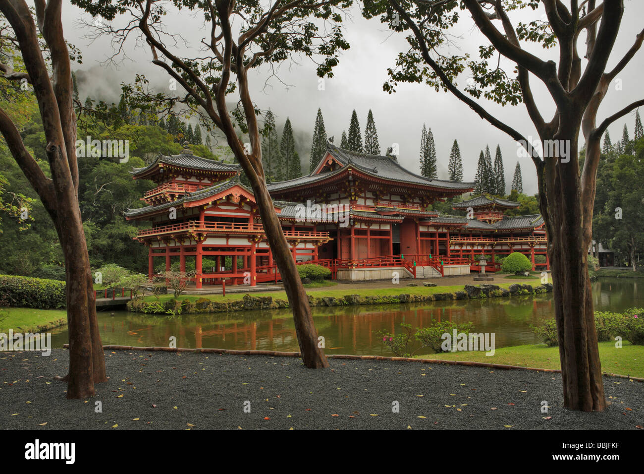 Replica of Japanese temple Byodo In Valley of the Temples Oahu Hawaii USA - Stock Image