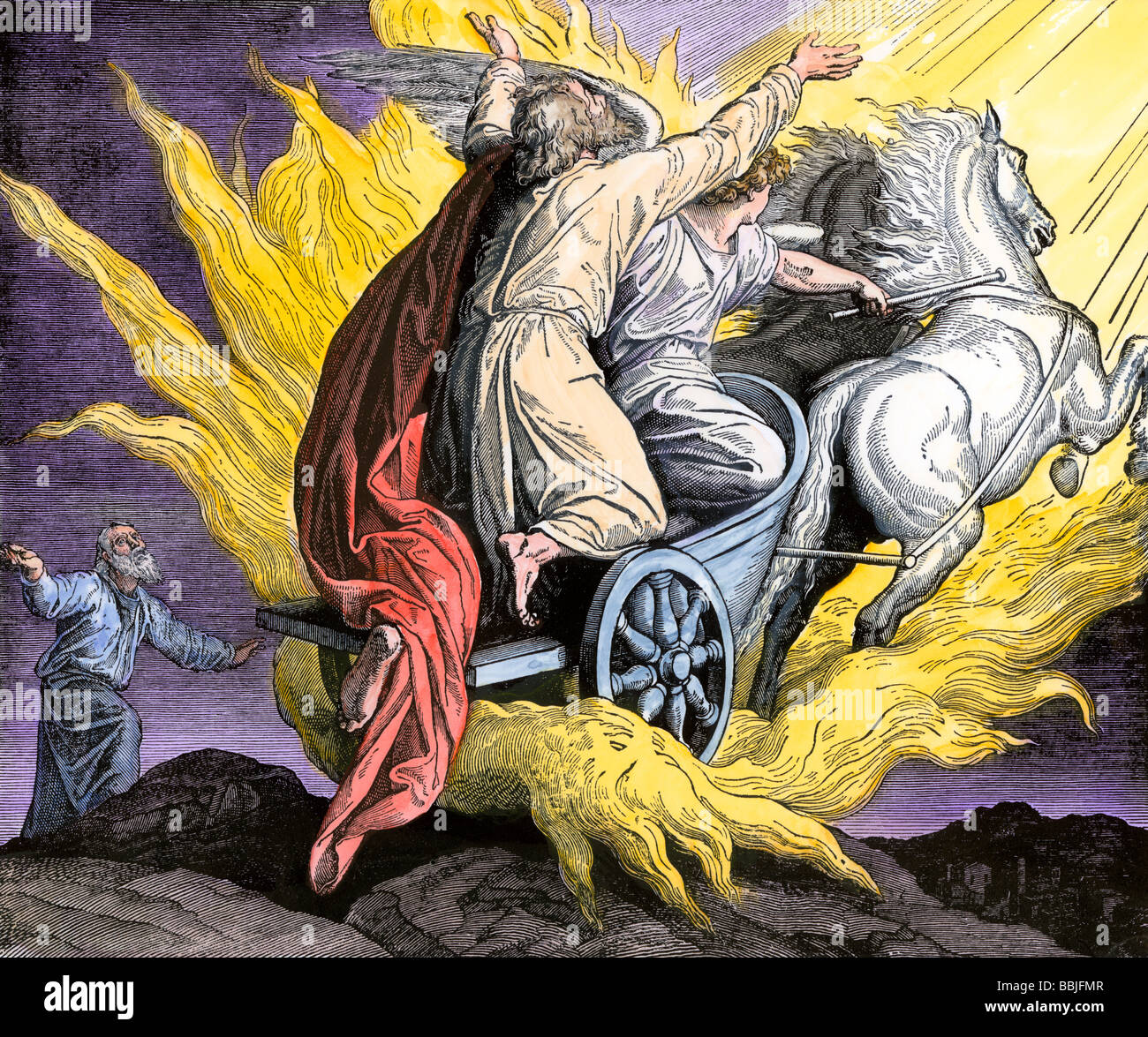 Elisha watching as Elijah is taken by an angel in a fiery chariot. Hand-colored woodcut - Stock Image