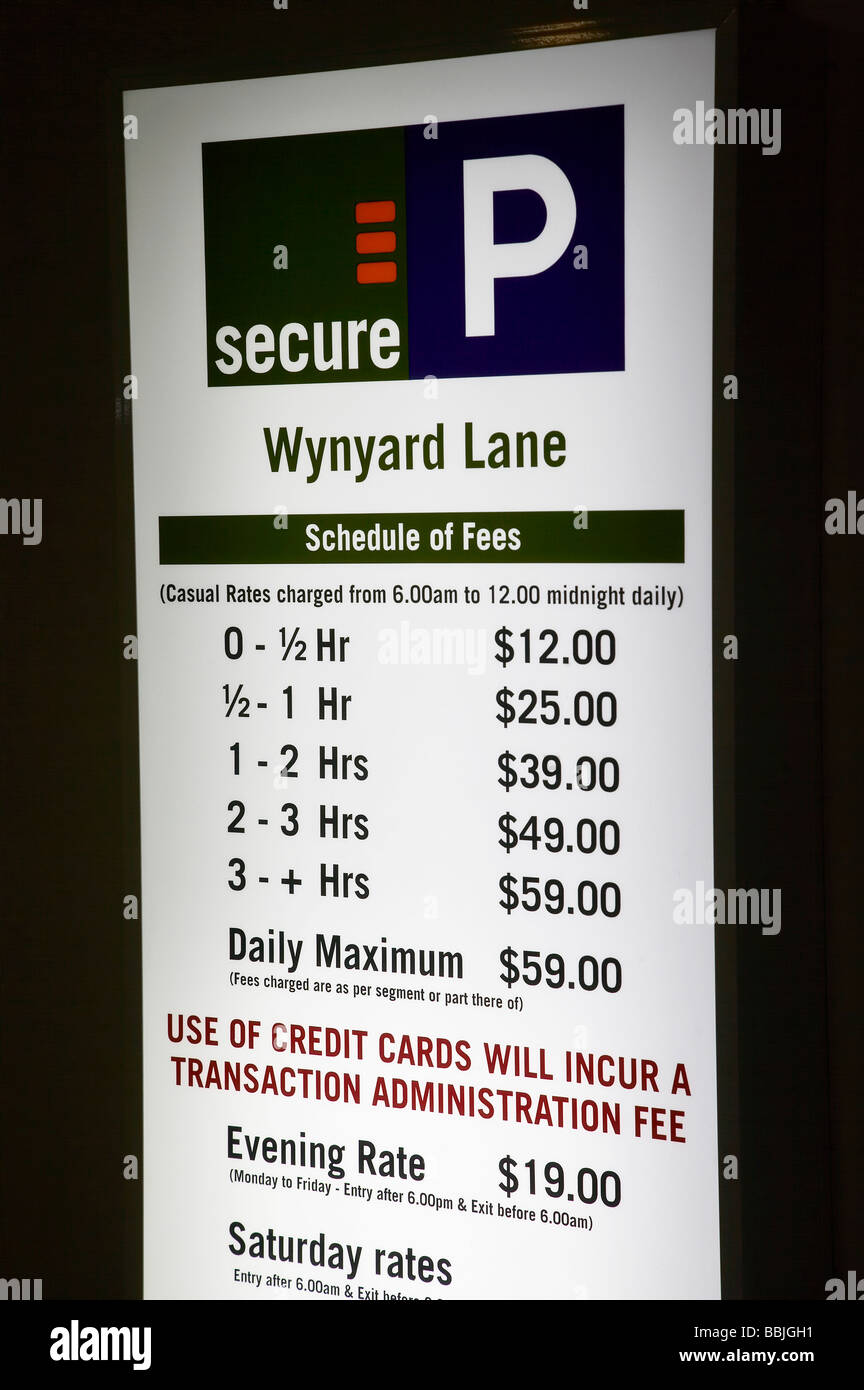 Parking Fees Sign Sydney New South Wales Australia - Stock Image