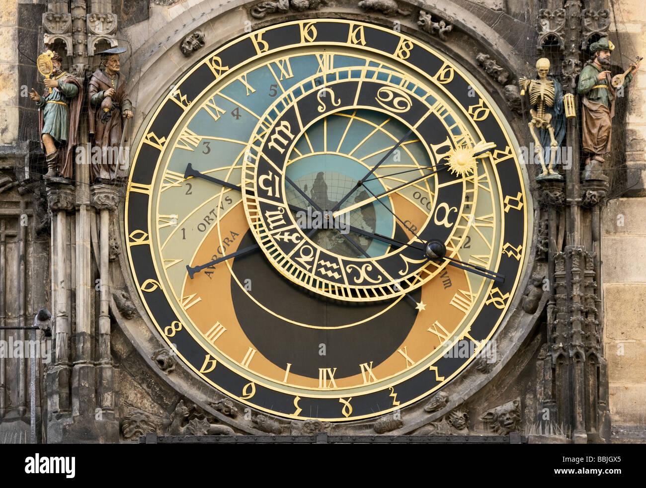 Prague Orloj astronomical clock on town hall tower - Stock Image