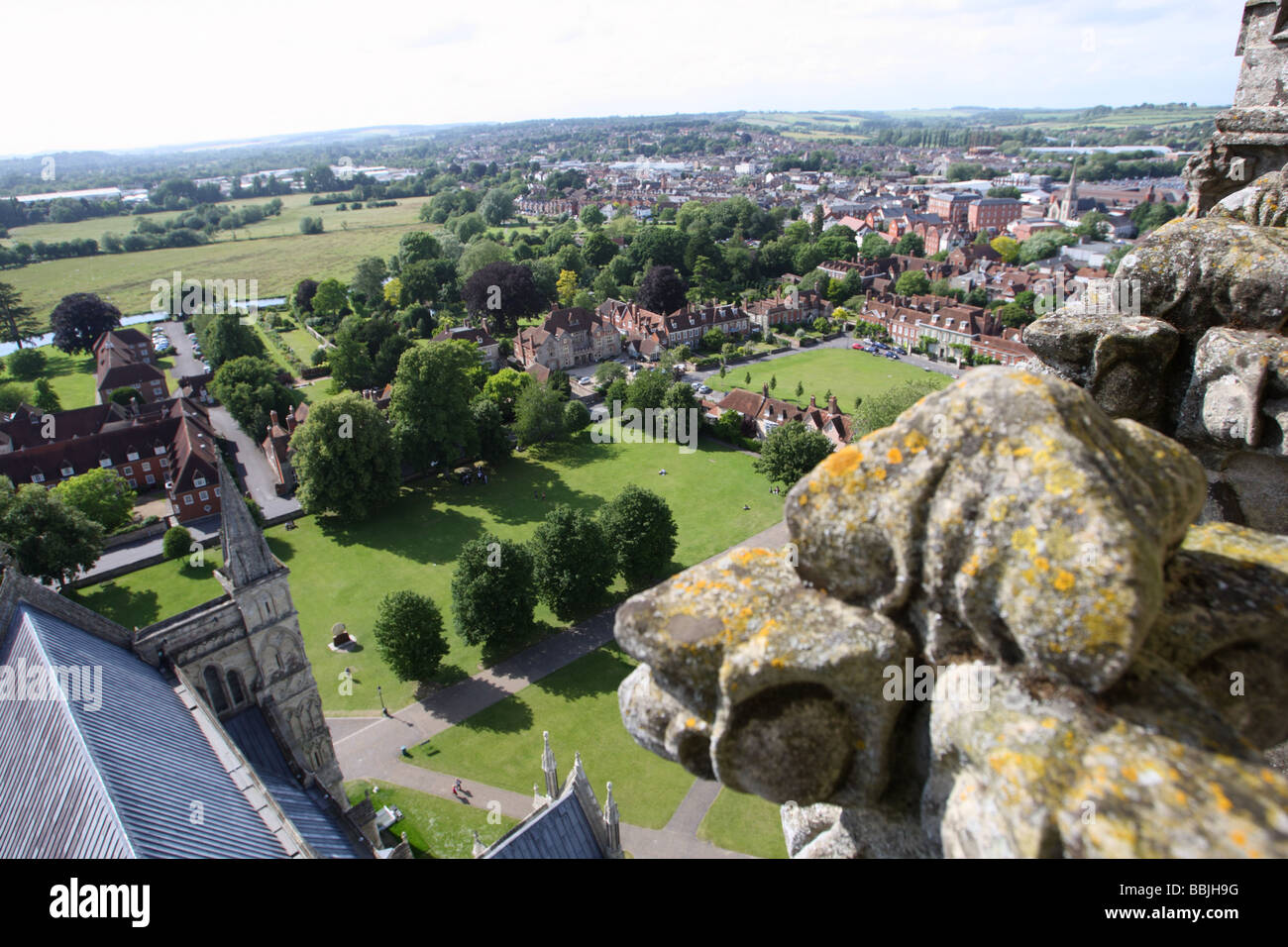 View of Salisbury from the spire of Salisbury Cathedral, Wiltshire, England Stock Photo