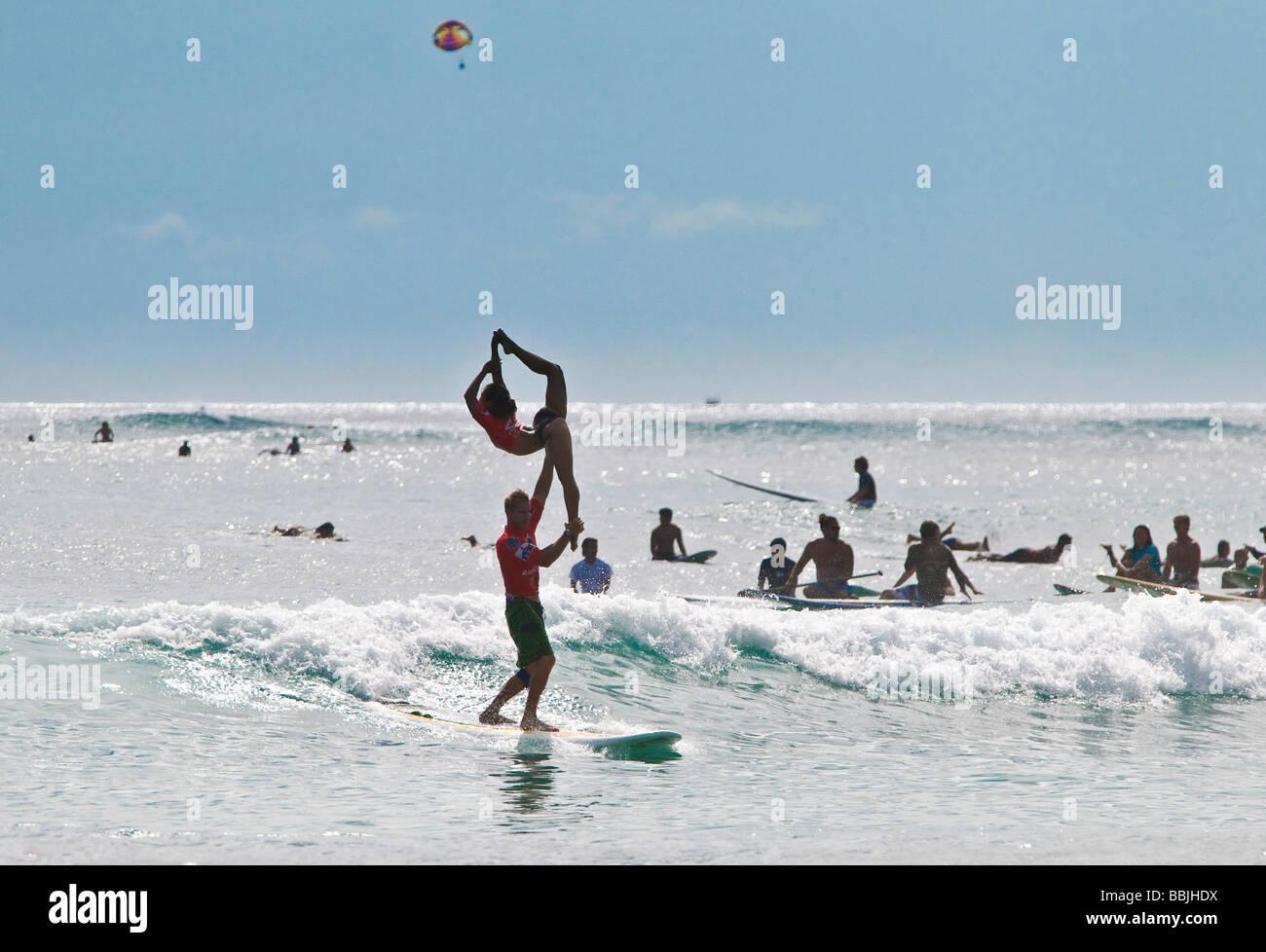 Couple Tandem Surfing Waikiki Beach Honolulu Oahu Hawaii