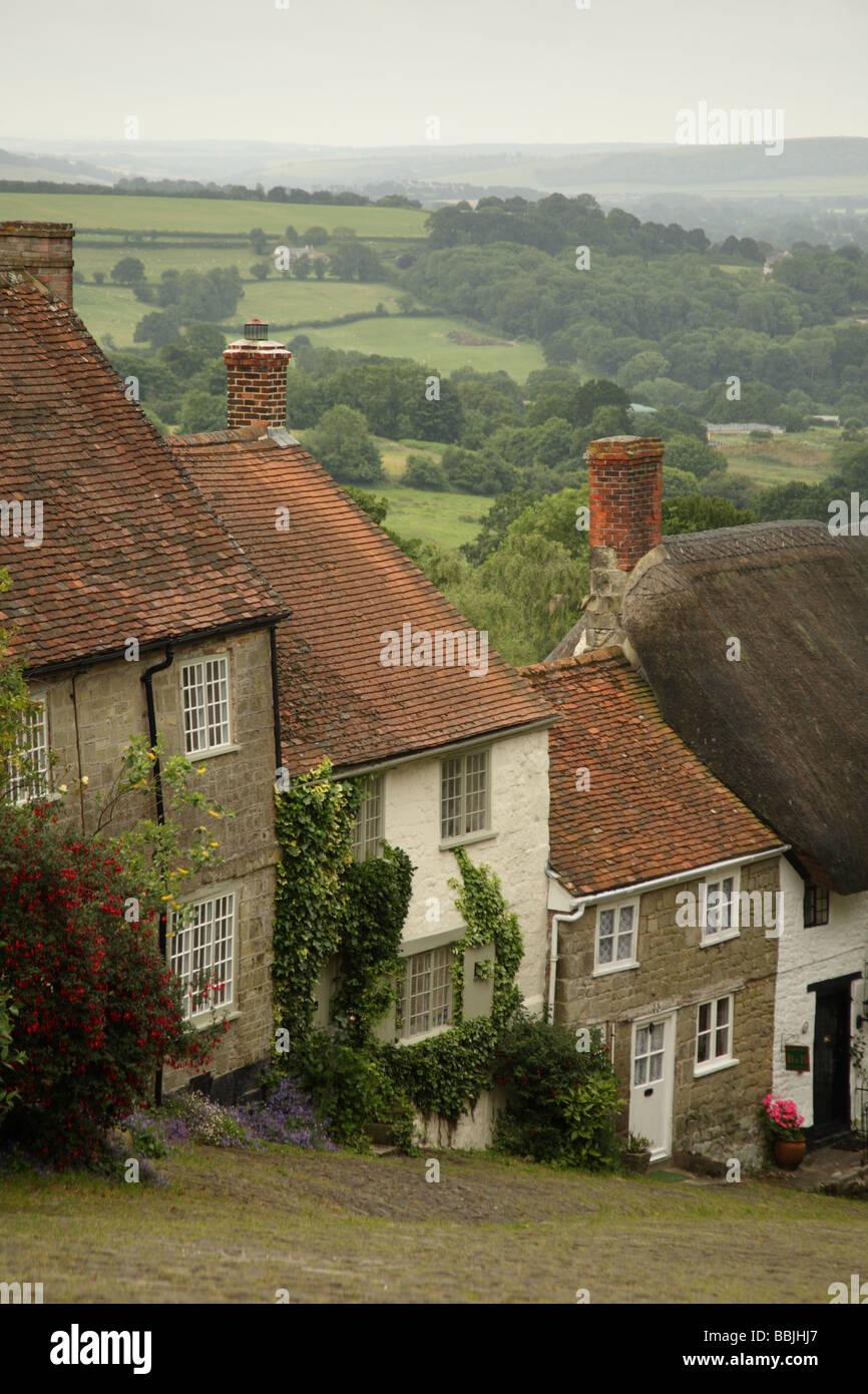 Gold Hill, Shaftesbury, Dorset, England - Stock Image
