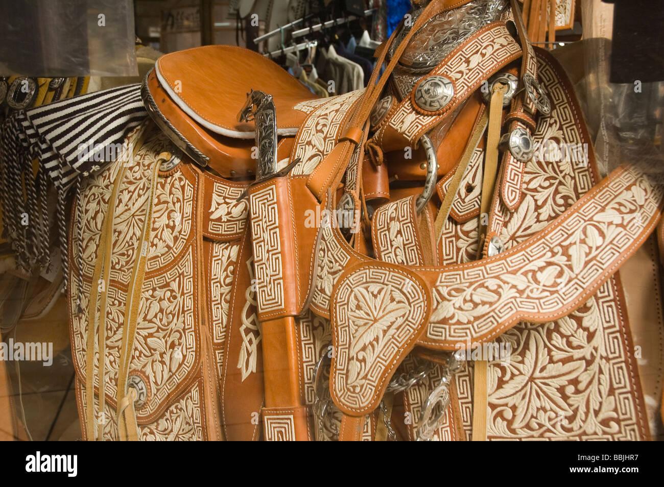 Elk187 1147 Mexico Zacatecas city tooled leather saddle - Stock Image